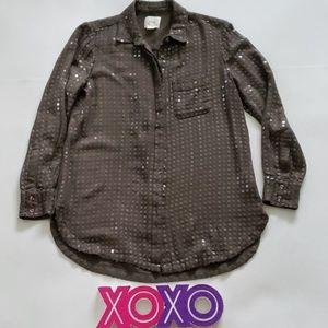 MAEVE olive green sequins long sleeve button up